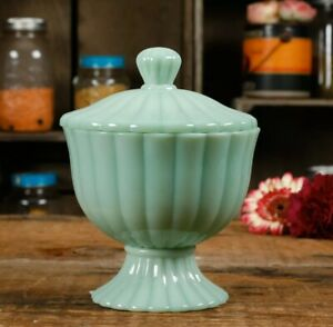 The Pioneer Woman Timeless Beauty Jade Candy Nut Dish Green Milk Glass