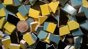 165 Yellow, Black and Green Trio Of Broken Mosaic Plate Tiles