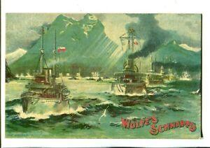 US Fleet Passing Through Magellan Straits Advertising Wolfes Schnapps