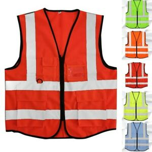 High Color Security Zipper Hi-vis Waistcoat With 4 Vest W/ Reflective Safety