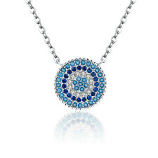 925 Sterling Silver Blue Rhythm Pave with Clear & Blue CZ Pendant Necklace Chain