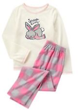 Nwt Gymboree Sleep Pink Grey Snuggle Bunny Plaid Pjs Girls Emerald Party 12-18 M
