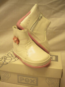 Girls Leather Boots  by Pex WHITE/PINK  size 2-5 Dayana First Class Postage