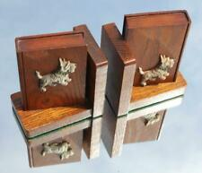 More details for art deco wood & bakelite pair of scotty dogs oak bookends by r. williams
