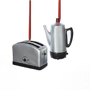 Set of 2 Toaster and Coffee Pot Ornaments w