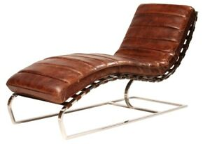 """59"""" L Gianfranco Chaise Channeled Top Grain Leather Modern Curved Metal Base"""