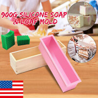 Silicone Soap Molds Kit-42 oz Wooden Silicone Soap Rectangular Mold For DIY Home