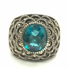 Sterling 925 London Blue Topaz Marcasite Dome Wide Floral Chunky Statement Ring