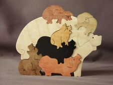 Pig Pile Puzzle Wood Swine Hog Piglet Farm Puzzle Toy Made in USA