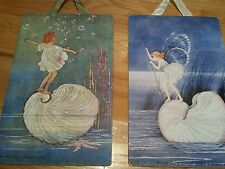 Wall Art for Girls, Replica of Vintage Artwork, 2 Plaques, Fairies and Shells.