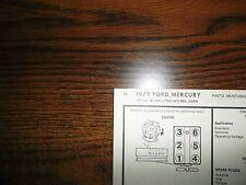 1979 Ford, Mustang & Mercury, Capri 2.8 Litre 171 CI V6 2BBL SUN Tune Up Chart