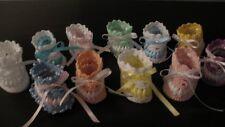 Vintage Crochet PATTERN to make Baby Booties Ribbon Thread Soft Shoes ThreadRibb