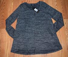 NWT Womens JONES NEW YORK Black Melange Heathered Blouse Top Shirt Sz S Small