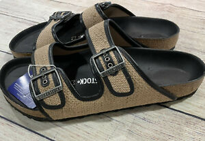 New Men's Birkenstock Arizona Size 12 (EU45)Reg Fit Jute Black Slide Sandals