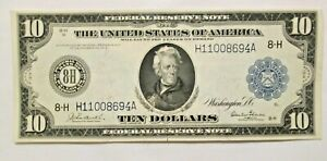 1914 $10 Large Note Blanket FRN BLUE SEAL 8-H St Louis Crisp Gem Unc You Grade