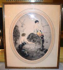 "Art Deco Jean Gilles Boudoir Art Lithograph ""Feeding Time""  Ladies Feeding Birds"