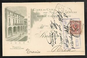 ITALY - 1906 ILLUSTRATED ADVERTISING CARD - PADOVA TO RIESE - EYE HOSPITAL