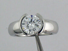 2CT CZ Bezel Solitaire Engagement Ring 14K  White Gold