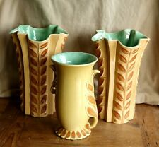 Vintage Red Wing Set of Three Large Vases Tan with Green Interior 1155 and 1103