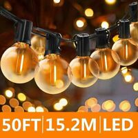 50FT LED Outdoor Globe Festoon String Lights G40 Bulb Xmas Patio Garden Party