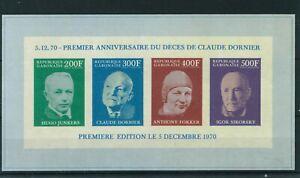 Gabon 1970 1st Anniversary of the Death of Claude Dornier mini sheet. MNH.