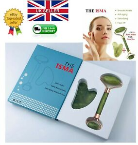 Jade Roller with Gua Sha for massage Facial Eye Neck Body Anti Ageing Therapy
