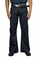 Men's DML Flare  Indie Retro Jeans 70s Bell Bottoms Indigo LC16 All Sizes
