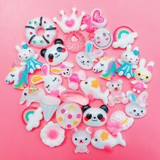 15 WHITE Kawaii Resin Cabochons Cute Pastel Animal Flatback Charms Decoden Candy