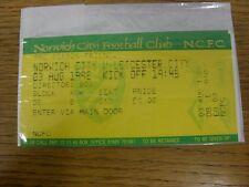 03/08/1998 Ticket: Norwich City v Leicester City [Friendly] [Directors Box] (com