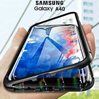 COVER per Samsung Galaxy A40 Alluminio ORIGINALE MAGNETICA 360° VETRO TEMPERATO