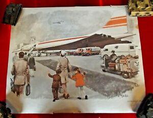 Objet de métier carte scolaire MDI 1970 Aéroport Avion Concorde Baguage Coffre