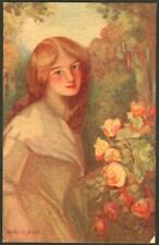 Vintage Glamour Postcard - The Apricot Rose Maiden - Walter Allcott - J1