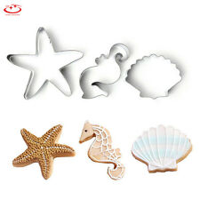3pcs Shell Seahorse Star Biscuit Pastry Cookie Cutter Cake Decor Mold Tools
