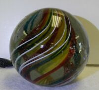 10047m Huge 2.05 Inches Single Ribbon German Handmade Vintage Swirl Marble