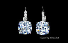 White Gold Plated Clear White Sparky Cushion Cut CZ Drop Dangle Earring Jewelry