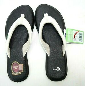 Sanuk Womens Stacker Yoga Mat Chakra Black Beach Thong Sandals Shoes US 8 EU 39