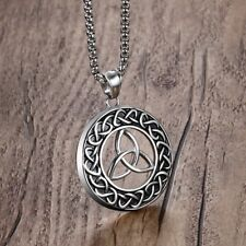 Hot Men Irish Celtics Trinity Love Knot Round Triquetra Necklace Pendant Jewelry