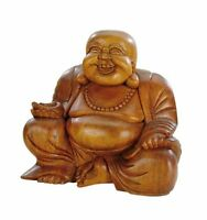 Holzfigur Holzbuddha Happy Buddha Holz Glücksbringer Holzstatue Glücksbuddha