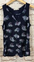 41 Hawthorn tank top womens small navy blue floral lace keyhole sleeveless L3