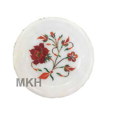 """5"""" Decorative Marble Inlay Plate Pietra Dura Handmade Crafts Home Decor for Gift"""