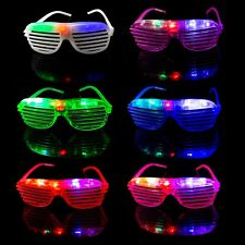 10 Flashing LED Shutter Glasses Light Up Rave Slotted Party Glow Shades Fun UK