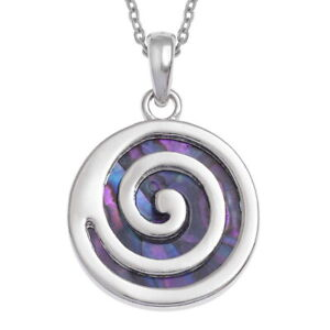 Purple Paua Abalone Spiral Circle Shell Necklace with Chain - Gift Boxed