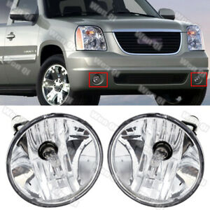 For 2007-2013 Chevy Avalanche Suburban Tahoe GMC Clear Fog Lights Driving Lamps