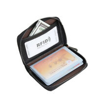 Unisex RFID Genuine Leather Multi-Function Card Holder Purse with 20 Card Slots-