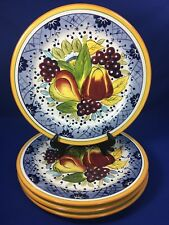 Tabletops Gallery BELLA FRUIT Hand Painted DINNER PLATES Fruit Design SET OF 4
