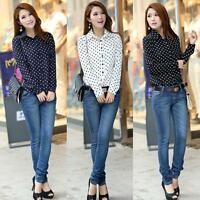 New Fashion Womens Chiffon Long Sleeve Polka Dot Loose Blouse Casual Shirt Tops