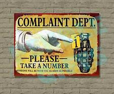 FUNNY METAL VINTAGE RETRO WALL DOOR SIGN PLAQUE COMPLAINT DEPT