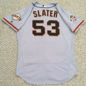 SLATER HOME RUN size 46 #53 2018 SAN FRANCISCO GIANTS GAME USED JERSEY ROAD MLB