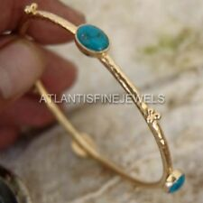925k Silver Handmade Designer W/ Turquoise Bangle 24k Yellow Gold Plated By Omer