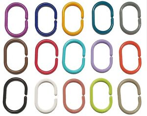 Plastic Shower Curtain C Ring Hooks Set Pack of 1 or 12 Rods & Pole Up to 29mm